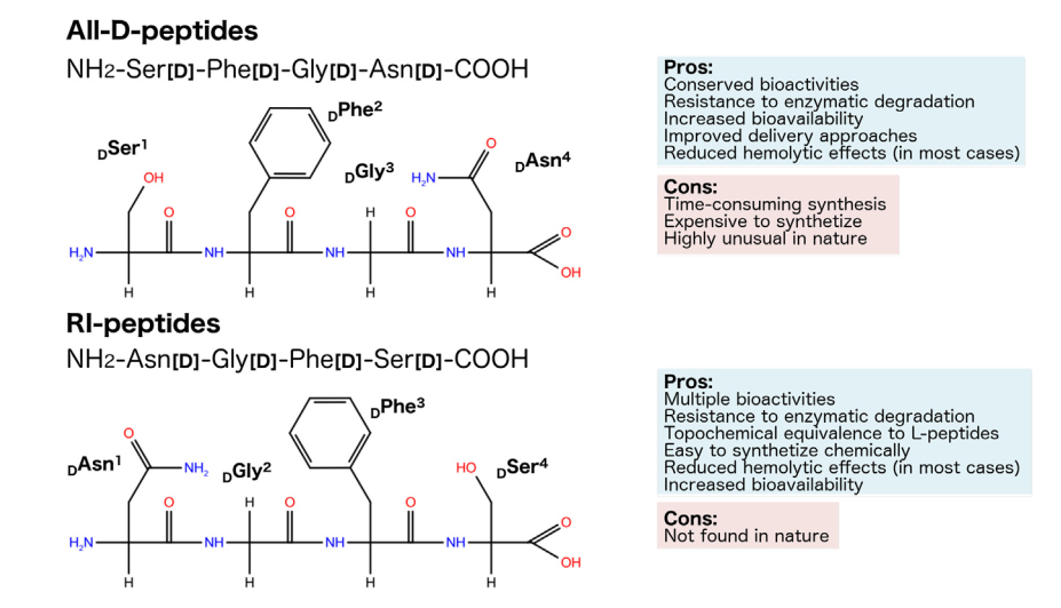 Representation of the planar structure and chirality of hypothetic L-, diastereomeric, all-D- and RI-peptides, also highlighting their pros and cons.
